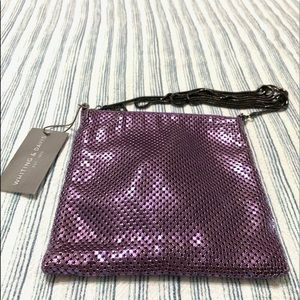 Whiting and Davis Purple Mesh Shoulder Bag